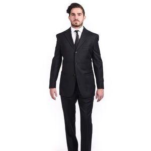 VERSACE Mens Wool Suit Blazer Black Size 52R